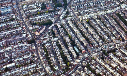 Aerial view of a street in London.